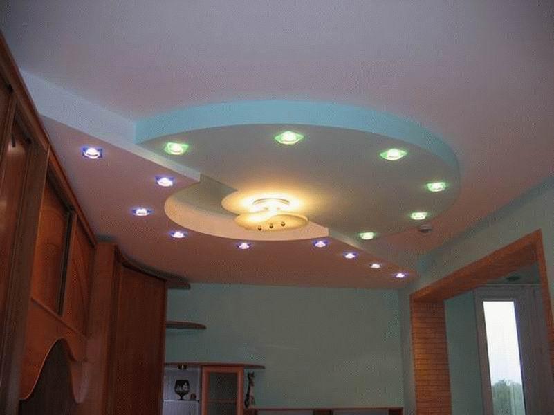 Многоуровневый потолок из гипсокартона фото.